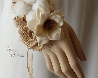 Ships in 5 days ~~~ Cotton Boll Sola Flower Corsage, Wrist Corsage or Pin On Corsage.