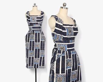 Vintage 50s Alfred SHAHEEN HAWAIIAN DRESS / 1950s Metallic Shelf Bust Asian Print Rockabilly Sun Dress xs - s