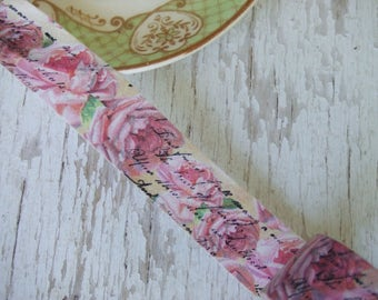 Washi tape SAMPLE SIZE - washi tape - 1 m of rose text washi - shabby chic washi tape - pink rose washi tape - romantic text washi