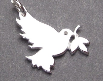 Sterling Silver Bird Charm,  Dove Charm, Swallow Charm, Bracelet Charm, Necklace Pendant  with Jump Ring