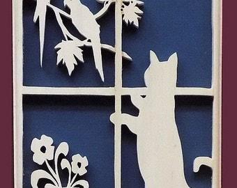 Cat in Window Victoriana Hand Cut Wood Picture