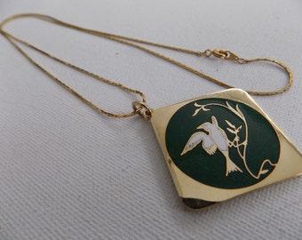 Vintage pendant, bird pendant,enamel pendant,signed pendant, Rivest pendant,made in Canada, green pendant,jewelry