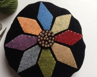 Vintage Fancy Button Primitive Penny Rug Wool Pincushion  JKB