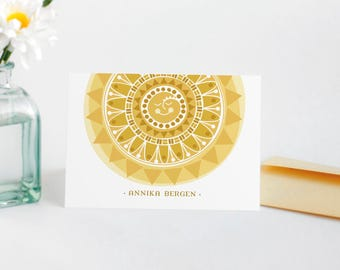 Sun Personalized Stationery Set, Custom Note Cards for Her // SUNSHINE