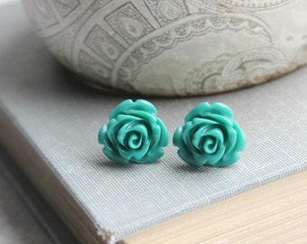 Teal Rose Stud Earrings Dark Teal Green Studs Little Flower Earrings Nickel Free Gift for Her Surgical Steel Post Earrings Stocking Stuffers