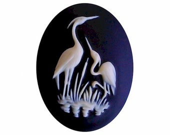 30x40mm crane cabochon heron stork resin cameo bird cameo water fowl Black Creme loose unset embellishment bauble diy wildlife jewelry 935x