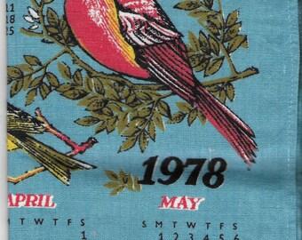 Vintage 1970's Linen Kitchen Calendar Towel - 1978