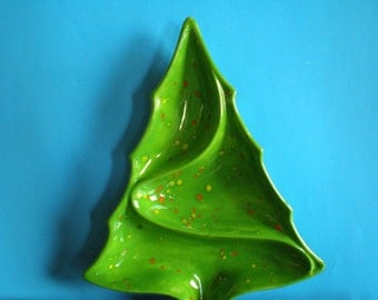 Vintage 1980's Ceramic Christmas Tree Candy - Nuts Tray