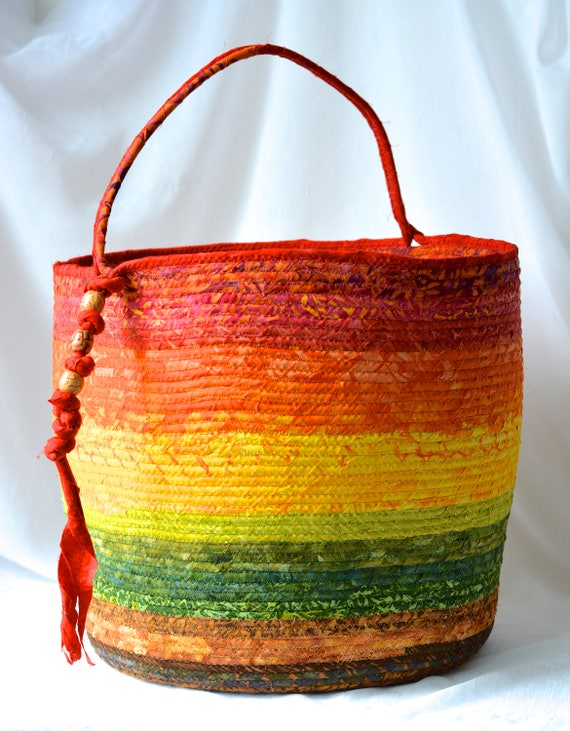 Boho Batik Basket, Gorgeous Batik Tote Bag, Picnic Basket, Gift Basket, Earth Tone Bin, Towel Holder, Beautiful Knitting Basket