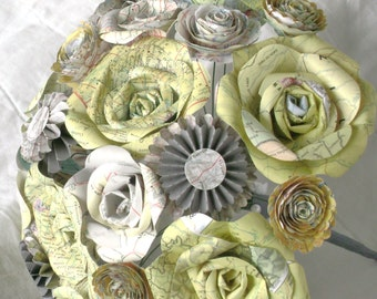 The Britney tinted map atlas page paper roses bridal bouquet with yellow and gray destination travel centerpiece alternative everlasting