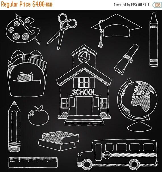 VDAY SALE Chalkboard School Clipart Clip Art Chalk by ...