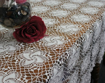 "Large White Cotton Crochet Tablecloth Handmade 70"" x 80"""