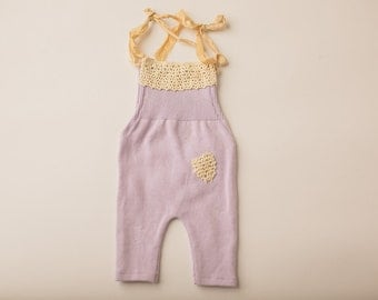 Lavendar Purple & Lace Sweater Overall- Newborn Photography Overall Set