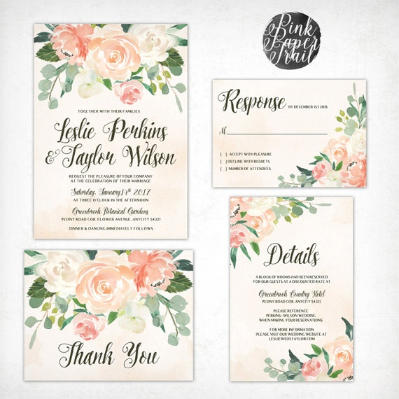 Printable Wedding Invitation Vintage Style in Peaches and Cream, Floral Rustic Watercolor Invitation, Wedding Invitation Suite