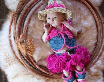 Baby Cowgirl Hat , Ruffle Skirt, Boots and Vest Set - Baby Hat - Cowgirl Baby Set - Western Set  Photo Prop - by JoJo's Bootique
