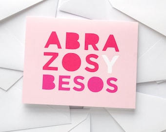 Abrazos y Besos Card | Spanish Greeting Card | Hugs + Kisses | Love + Friendship | Pink + Red | Valentine's Day