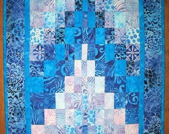 Batik Table Topper Bargello, Walling Hanging Quilted, pieced, handmade, blue, violet, patchwork