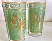 Midcentury Green & Gold Bird Glasses