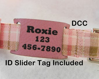 Dog Collar with Custom Personalized OOAK Leatherette ID Slider Tag Adjustable Dog Collar D Ring Handmade Choose Size Accessories Pet Pets