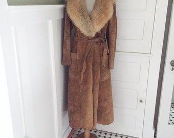 Vintage 70s BoHo Brown Suede & Shearling LONG Hippie Wrap Jacket PRINCESS COAT