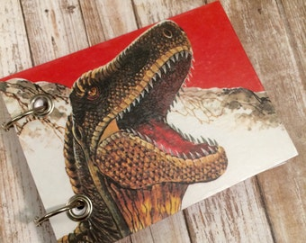 Recycled  Notebook - Dinosaur Notebook - Upcycled Vintage Book - Large Notepad - Refillable Notepad - Animal Note Book