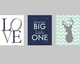 Woodland Nursery Boy, Moose Deer Nursery Set, Mod Mint Forest, Navy and Mint Nursery, Navy Mint Gray Tribal Aztec Arrow Deer Moose Nursery