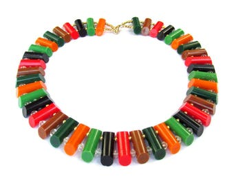 1950s Lucite Collar Necklace VINTAGE Plastic Beaded Jewelry ORANGE, Green, Red and Black