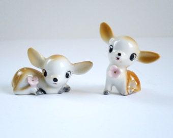 Mini Reindeer Deer Figurines, Kawii Tiny Deer Fawn Reindeer, Miniature Deer, Dollhouse Diorama Putz Reindeer, Kitsch Reindeer Deer Figures