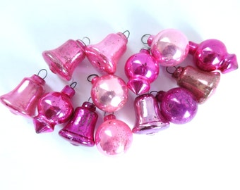 Vintage Shiny Brite Pink Tree Ornaments, Shades of Pink Ornaments, Mercury Glass Bells UFOs, Feather Tree Decorations, Pink Christmas