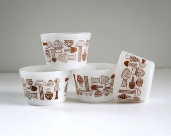 Mushroom Ramekins Custard Cups Set of 4, Retro Glass Dipping Bowls, Glass Mushroom Dipping Dish, Kaj Frank Style Mushroom Bowl