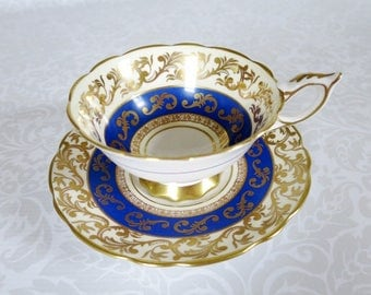 Royal Stafford Tea Cup and Saucer Set, Vintage Blue with Gold Chintz Teacup and Saucer Set, Vintage English China  by SwirlingOrange11