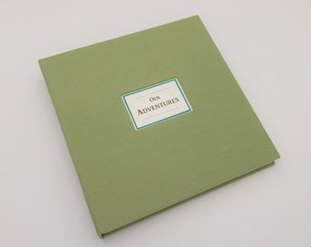 8x8 Cloth-Covered Scrapbook Album, Our Adventures, Sage Green, In Stock