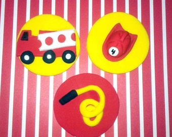 Fondant cupcake toppers Firefighter, Fireman party, Heros