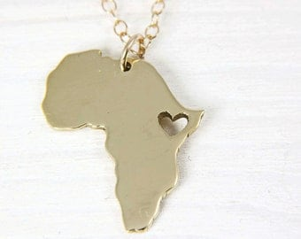 Africa Map Necklace 18K GOLD PLATED Nu-Gold Heart Africa Ethiopia Pendant  Adoption Necklace  Ethiopia Ciondolo Africa Heart Necklace
