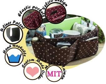 Medium Purse ORGANIZER Insert, Bag Organizer, extra strudy / Brown Polka Dots / Medium 22x8cm