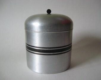 Strikalite spun aluminum humidor mid century vintage New York black stripe