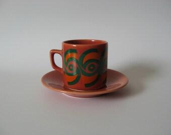 Wee Dutch ceramic mug demi tasse adorable coffee tea espresso cup and saucer Holland green coral orange mod print