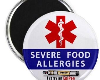 SEVERE FOOD ALLERGIES EpiPen Allergy Medical Alert Fridge Magnet (Choose Size)