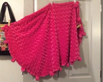 Long Cape/skirt Rosette fleece faux fur velvety Vtg super soft velour with ties very full sweep circle skirt One size