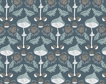 Mushroom Damask in Canal  750 - FOLKWOOD by Rae Ritchie - Dear Stella Design Fabric - By the Yard