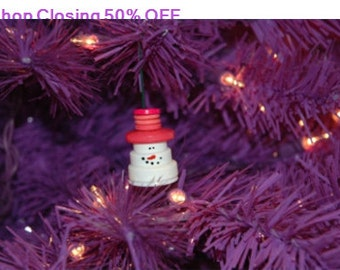 Shop Closing 50% OFF Mr. Snowman Button Christmas Tree Ornament with Pink Top Hat - Proceeds Benefit Cancer Research