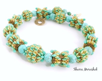 Beaded Bead Necklace by Sharri Moroshok - Turquoise Butterfly