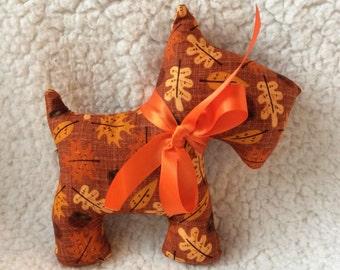Stuffed Scottie Dog - stuffed toy - fall, autumn leaves