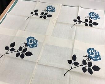 Vintage Set of 4 Blue Rose with Black Stem Linen Table Napkins- vintage table napkins, table linens, black rose, blue rose, rose lover linen