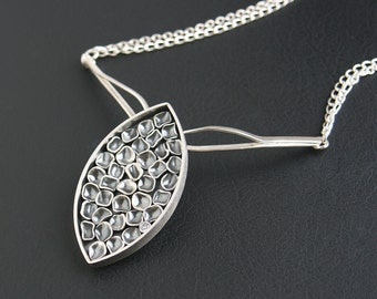 Bold Statement Petal Design Pendant Necklace Art Jewelry Sculptural Design Sterling Silver OOAK