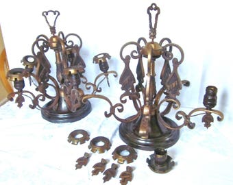 Antique Chandeliers, Wrought Iron, Copper finish, Ceiling Lights, Replacements, Original, Restoration Parts, Set of 2 1920s or 1930s