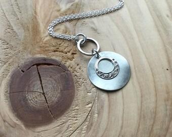 Antique Silver Necklace- Mixed Metal Necklace- Modern, Versatile Necklace