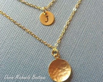 Layered Necklaces with Hammerd Disk and Tiny Initial Charm, Available in Gold or Silver Layering Necklace, Gold Multi Strand Necklace