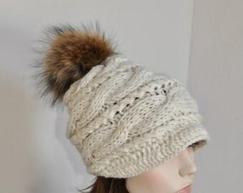 Pompom Hat Visor Cap Brim Hat Pompom Beanie Hat Fur Pompom Hat Newsboy Hat CHOOSE COLOR Black Ski Women Hat Christmas Gift under 100