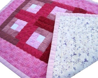 Handmade Quilted Table Runner, Dresser Topper or Candle Mat Pink and Mauve, perfect for a little girl's dresser